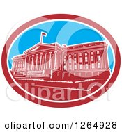 Clipart Of A Retro Woodcut Facade Of The Treasury Building In Washington DC Royalty Free Vector Illustration