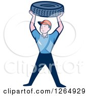 Clipart Of A Cartoon Male Mechanic Worker Holding Up A Tire Royalty Free Vector Illustration by patrimonio
