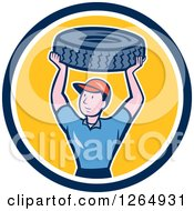 Cartoon Male Mechanic Worker Holding Up A Tire In A Blue White And Yellow Circle