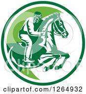 Clipart Of A Retro Horseback Jockey In A Green And White Circle Royalty Free Vector Illustration