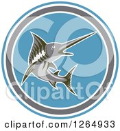 Clipart Of A Swimming Marlin Fish In A Blue Gray And White Circle Royalty Free Vector Illustration