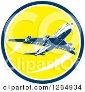 Clipart Of A Flying Airplane Inside A Yellow Blue And White Circle Royalty Free Vector Illustration by patrimonio