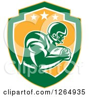 Clipart Of A Retro American Football Player In A Yellow Green And White Shield Royalty Free Vector Illustration