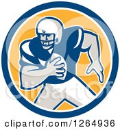 Clipart Of A Retro American Football Player In A Blue White And Yellow Circle Royalty Free Vector Illustration by patrimonio