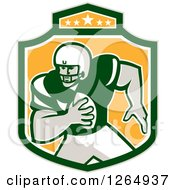 Clipart Of A Retro American Football Player In A Green White And Yellow Shield Royalty Free Vector Illustration