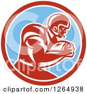 Clipart Of A Retro American Football Player In A Red White And Blue Circle Royalty Free Vector Illustration by patrimonio