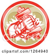 Clipart Of A Retro Bodybuilder Hand Holding A Dumbbell And Chains In A Red White And Brown Circle Royalty Free Vector Illustration by patrimonio