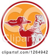 Clipart Of A Retro Woodcut Male Chef Holding Gelatin Or Cake On A Platter In A Gray Red White And Orange Circle Royalty Free Vector Illustration