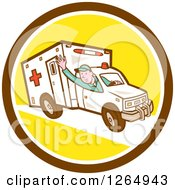 Clipart Of A Retro Cartoon Ambulance Driver Waving In A Brown White And Yellow Circle Royalty Free Vector Illustration