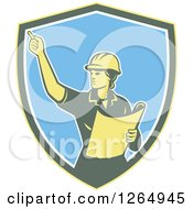 Retro Female Construction Worker Engineer In A Yellow Green White And Blue Shield