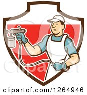 Poster, Art Print Of Cartoon Male Painter Using A Spray Gun In A Brown White And Red Shield