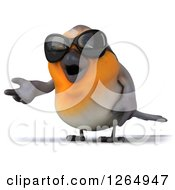 Clipart Of A 3d Red Robin Bird Wearing Sunglasses And Presenting Royalty Free Illustration
