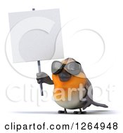 Clipart Of A 3d Red Robin Bird Wearing Sunglasses And Holding Up A Blank Sign Royalty Free Illustration