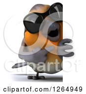 Clipart Of A 3d Red Robin Bird Wearing Sunglasses And Pointing Around A Sign Royalty Free Illustration