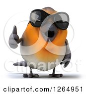 Clipart Of A 3d Red Robin Bird Wearing Sunglasses And Giving A Thumb Up Royalty Free Illustration