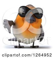 Clipart Of A 3d Red Robin Bird Wearing Sunglasses And Giving A Thumb Down Royalty Free Illustration by Julos