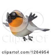 Clipart Of A 3d Red Robin Bird Wearing Sunglasses And Flying Royalty Free Illustration