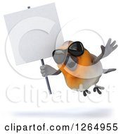 Clipart Of A 3d Red Robin Bird Wearing Sunglasses And Flying With A Blank Sign Royalty Free Illustration