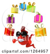 Clipart Of A 3d Red Fish Wearing Sunglasses And Juggling Gifts Royalty Free Illustration