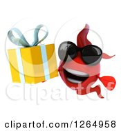Clipart Of A 3d Red Fish Wearing Sunglasses And Holding A Gift Royalty Free Illustration