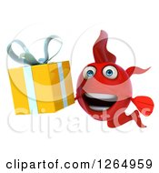 Clipart Of A 3d Red Fish Holding A Gift Royalty Free Illustration