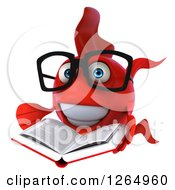 Clipart Of A 3d Bespectacled Red Fish Reading A Book Royalty Free Illustration by Julos