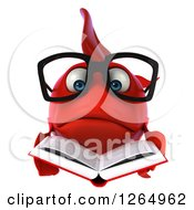 Clipart Of A 3d Sad Bespectacled Red Fish Reading A Book Royalty Free Illustration by Julos