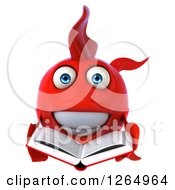 Clipart Of A 3d Red Fish Reading A Book Royalty Free Illustration by Julos