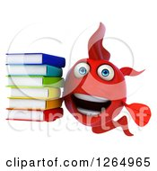 Clipart Of A 3d Red Fish Holding A Stack Of Books Royalty Free Illustration by Julos