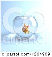 3d Sad Goldfish In A Bowl