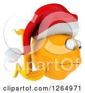 3d Sad Goldfish Wearing A Christmas Santa Hat