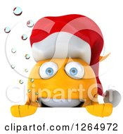 3d Happy Christmas Gold Fish Wearing A Santa Hat Over A Sign