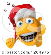 3d Happy Christmas Gold Fish Wearing A Santa Hat Around A Sign