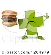 Clipart Of A 3d Green Pharmaceutical Cross Character Holding A Double Cheeseburger Royalty Free Illustration