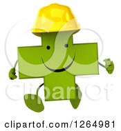 Clipart Of A 3d Green Contractor Pharmaceutical Cross Character Running Royalty Free Illustration
