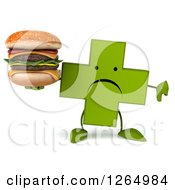 Clipart Of A 3d Green Pharmaceutical Cross Character Holding A Double Cheeseburger And Thumb Down Royalty Free Illustration