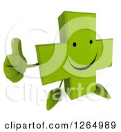 Clipart Of A 3d Green Pharmaceutical Cross Character Giving A Thumb Up Royalty Free Illustration