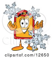 Price Tag Mascot Cartoon Character With Three Snowflakes In Winter