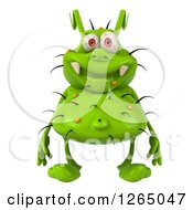 Clipart Of A 3d Green Germ Royalty Free Illustration