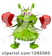 Clipart Of A 3d Green Germ Wearing Boxing Gloves Royalty Free Illustration