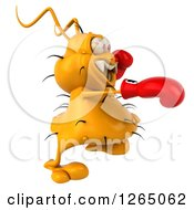 Clipart Of A 3d Yellow Germ Punching And Wearing Boxing Gloves Royalty Free Illustration