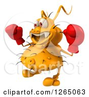 Clipart Of A 3d Yellow Germ Wearing Boxing Gloves Royalty Free Illustration