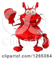 Clipart Of A 3d Red Germ Waving And Wearing Boxing Gloves Royalty Free Illustration