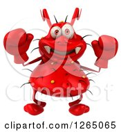 Clipart Of A 3d Red Germ Wearing Boxing Gloves Royalty Free Illustration