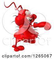 Clipart Of A 3d Red Germ Punching And Wearing Boxing Gloves Royalty Free Illustration