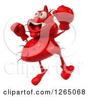 Clipart Of A 3d Red Germ Jumping And Wearing Boxing Gloves Royalty Free Illustration