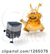 Poster, Art Print Of 3d Yellow Germ Virus Monster Chasing A Computer Tower