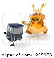Clipart Of A 3d Yellow Germ Virus Monster Chasing A Computer Tower Royalty Free Illustration by Julos