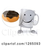 Clipart Of A 3d Happy Coffee Mug Holding A Donut Royalty Free Illustration
