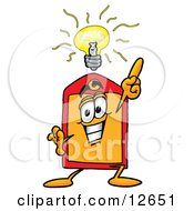 Clipart Picture Of A Price Tag Mascot Cartoon Character With A Bright Idea by Toons4Biz
